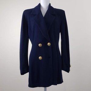 St. John Navy Blue Double Breast Sweater Coat